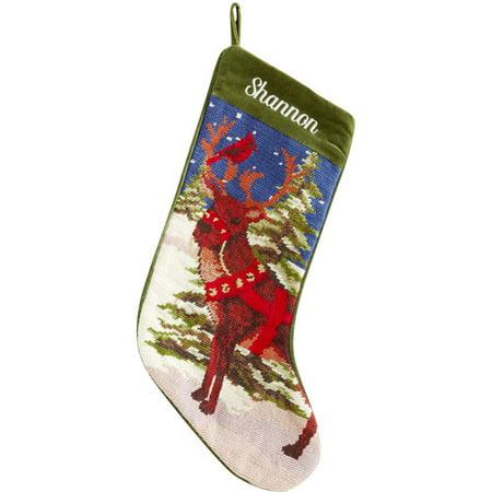 personalized needlepoint christmas stocking reindeer - Personalized Needlepoint Christmas Stockings
