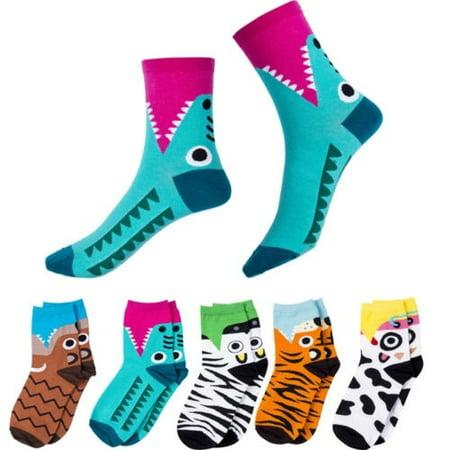 Hot Women Cartoon Animals Zebra Tiger Crocodile Printed Socks Cotton Ankle Socks Footprints Stockings