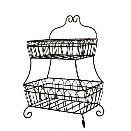 J Miles CO JMiles UH-FB235 Two Tiered Decorative Wire Basket for Fruit, Bread, and More - ()