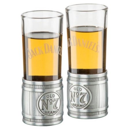 Jack Daniels Metal Barrel Shooter Set (2) Glass/Metal Shot Glass Whiskey