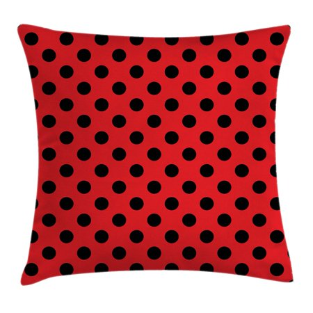 Red and Black Throw Pillow Cushion Cover, Retro Vintage Pop Art Theme Old 60s 50s Rocker Inspired Bold Polka Dots Image, Decorative Square Accent Pillow Case, 18 X 18 Inches, - 60s Themes