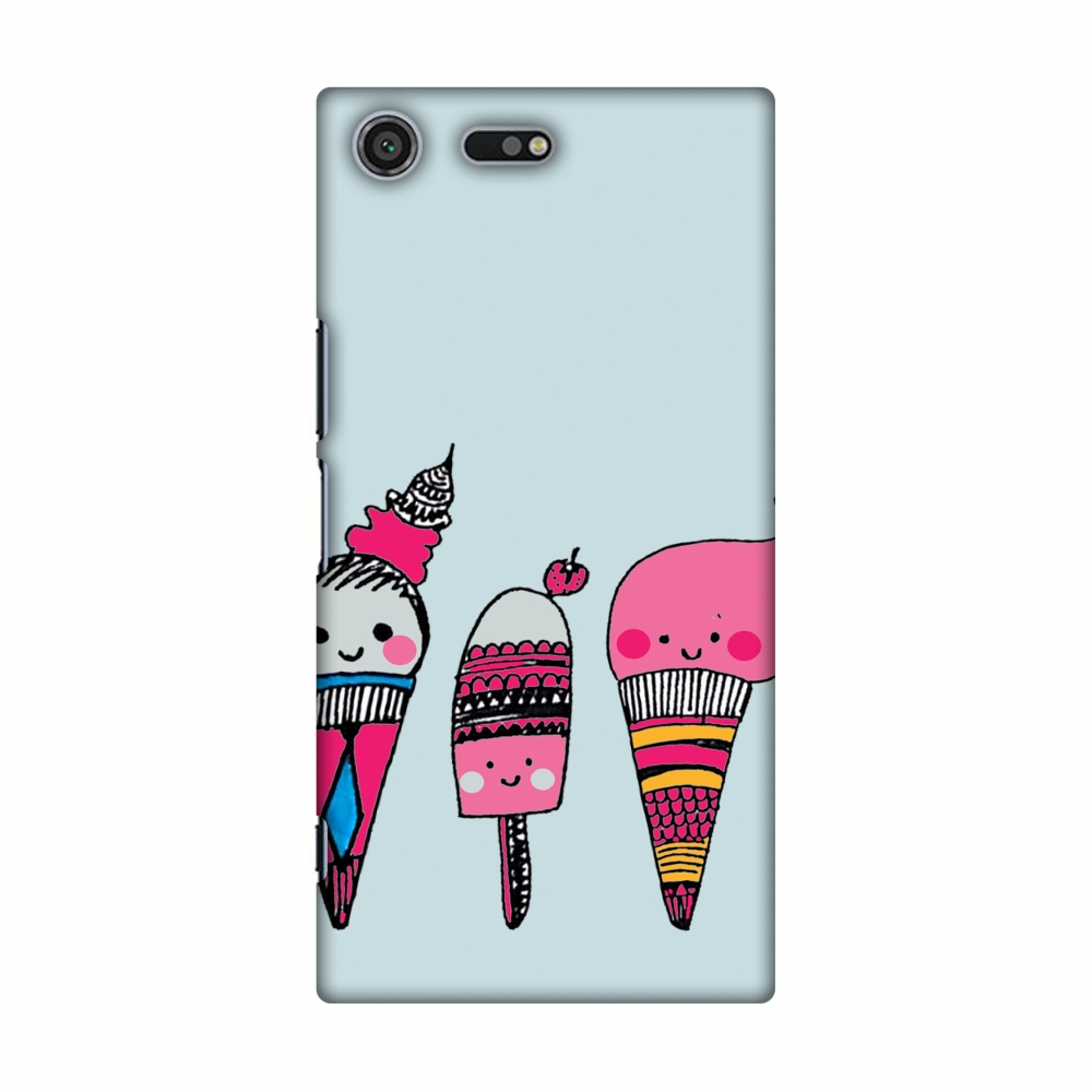 Sony Xperia XZ Premium Case - Ice Creams- Pale blue, Hard Plastic Back Cover, Slim Profile Cute Printed Designer Snap on Case with Screen Cleaning Kit