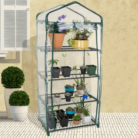 4-Tier Greenhouse – Outdoor Gardening Hot House with Zippered Cover and Metal Shelves for Growing Vegetables, Flowers and Seedlings by Pure