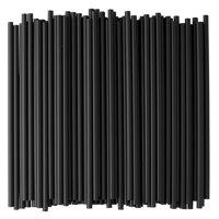 Crystalware Black Plastic Straws, 500ct, 7.75in