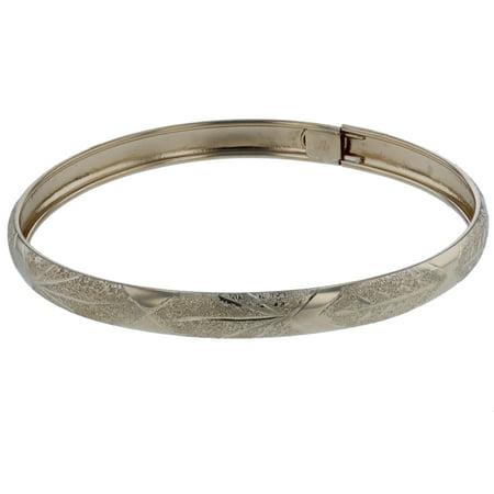 "Floreo 10k Yellow Gold bangle bracelet Flexible Round with Diamond Cut Design (0.24"")"