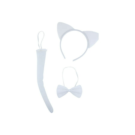 Lux Accessories Plain White Cat Ears Tail Bowtie Costume Set Halloween Party Kit - Peacock Tail Costume Accessories