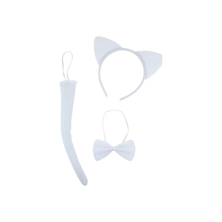 Lux Accessories Plain White Cat Ears Tail Bowtie Costume Set Halloween Party Kit (Cat's Tail Halloween)