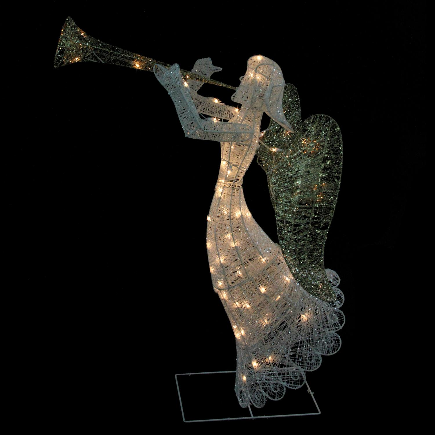 "48"" Lighted Glittered Trumpeting Angel Christmas Outdoor Decoration"
