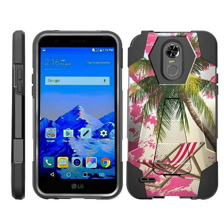 TurtleArmor ® | For LG Stylo 3 | LG Stylus 3 | LG Stylo 3 Plus [Dynamic Shell] Dual Layer Hybrid Silicone Hard Shell Kickstand Case - Pink Sand Palm Tree