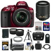 Nikon D5300 Digital SLR Camera & 18-55mm G VR II Lens (Red) with 55-200mm VR II Lens + 64GB Card + Battery + Case + Grip + Tele/Wide Lens Kit
