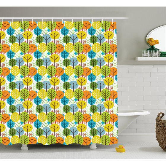 Baby Shower Curtain Cute Colorful Summer Trees Kids Playroom Girls