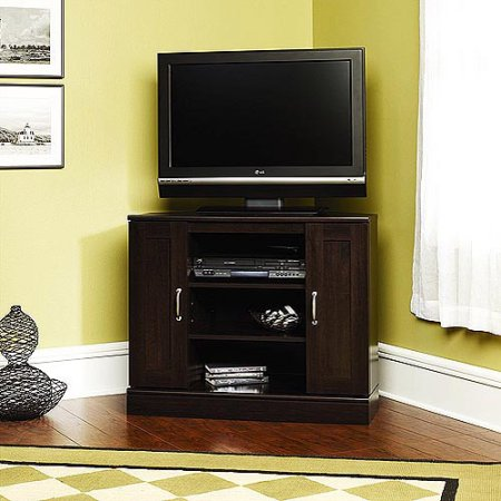 "Mainstays Corner TV Stand for TVs up to 37"". Cinnamon Cherry Finish"