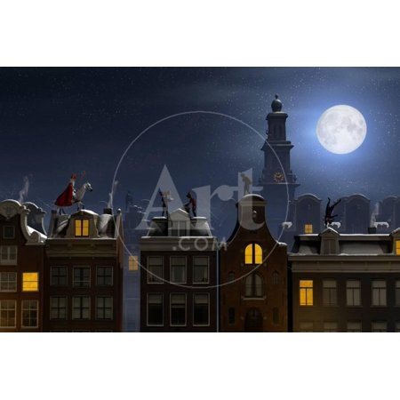 Sinterklaas and the Pieten on the Rooftops at Night, a Scene for the Traditional Dutch Holiday 'Sin Print Wall Art By Sara Winter