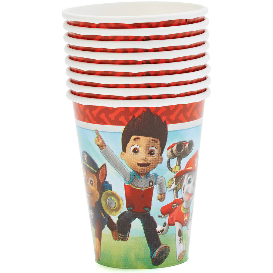 PAW Patrol 9 oz Paper Cups, 8 Count, Party Supplies
