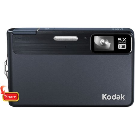 Kodak EasyShare M590 Blue 14MP Digital Camera w/ 5x Optical Zoom, 2.7  Bright LCD Display Kodak EasyShare M590 14MP Digital Camera:14.0 megapixel resolutionDelivers excellent picture qualityKodak 33-175mm zoom lensFeatures a 5x optical zoom2.7  Bright LCD displayEnjoy easy focus selection and photo viewingRecord moviesRecord movies with VGA quality on this compact camera20 scene modesProvide creative options for taking eye-catching photos with accurate colorOne-button uploadUpload photos to e-mail, Kodak Gallery, YouTube, Facebook, Flickr and Orkut sitesMemory Card Specifications: Compatible microSD memory cardsInternal Memory: 64MB1 microSD Slot