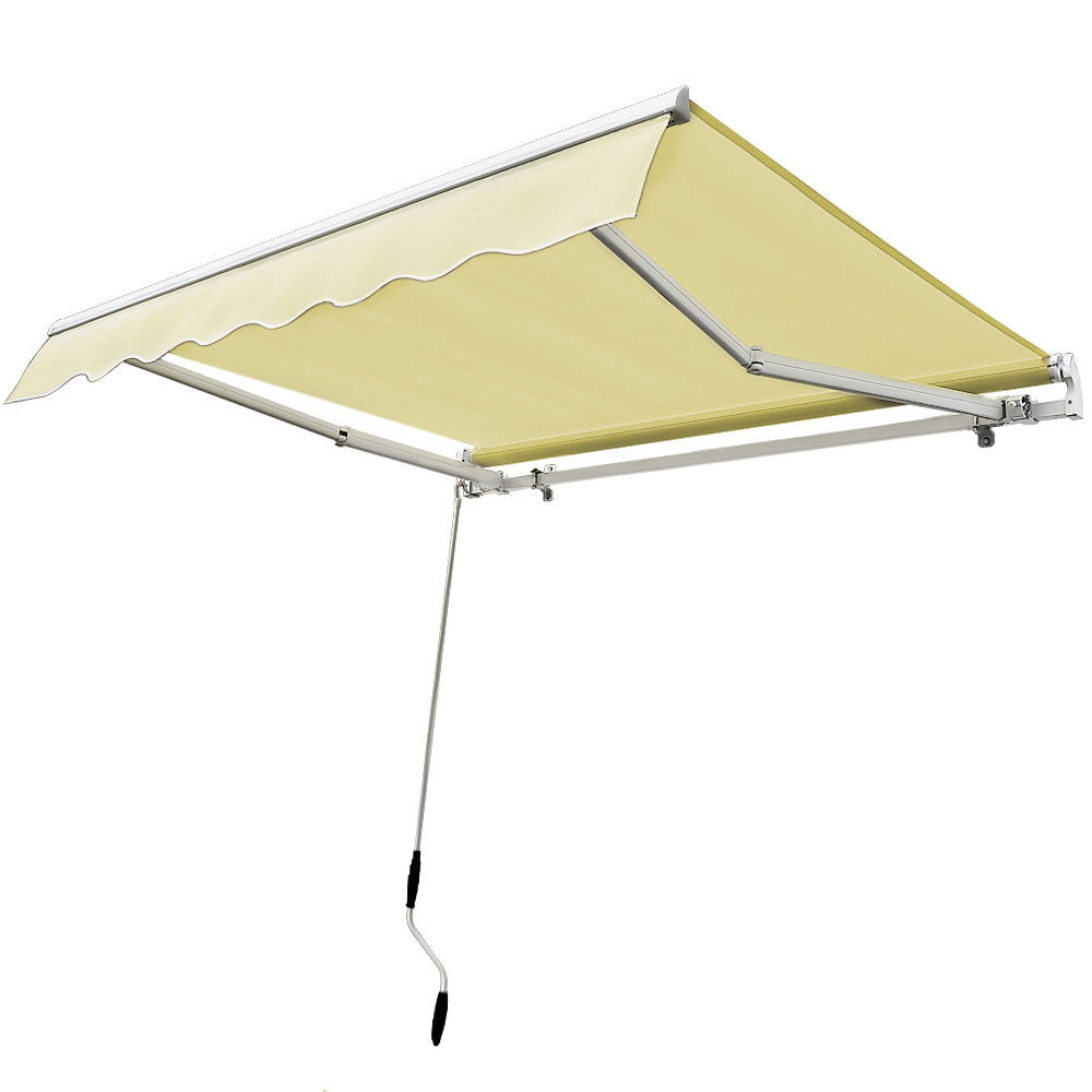 Ktaxon 12u0027 X 10u0027 Manual Retractable Awning Beige Outdoor Shelter Sunshade  Rainshade Window Awning/Door Awning