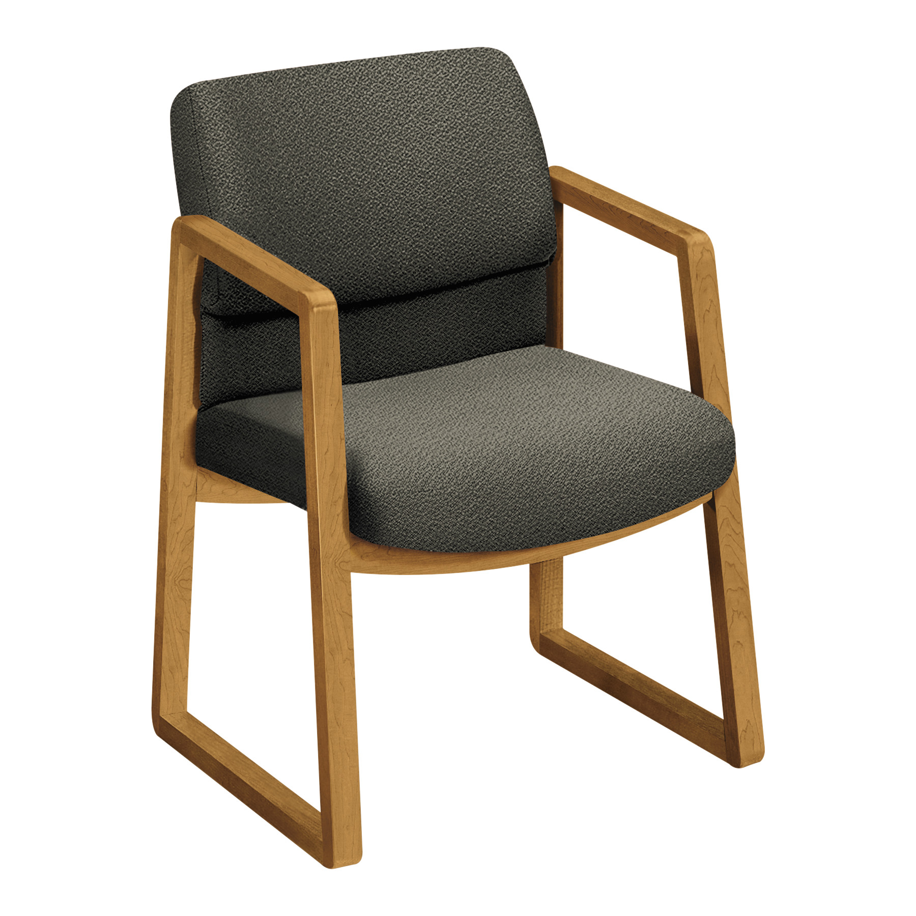 HON 2400 Series Guest Arm Chair, Harvest Finish, Gray Fabric