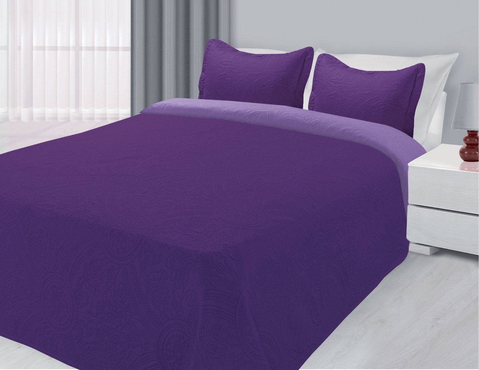 3-Piece Reversible Quilted Bedspread Coverlet Purple & Lilac Twin Size by