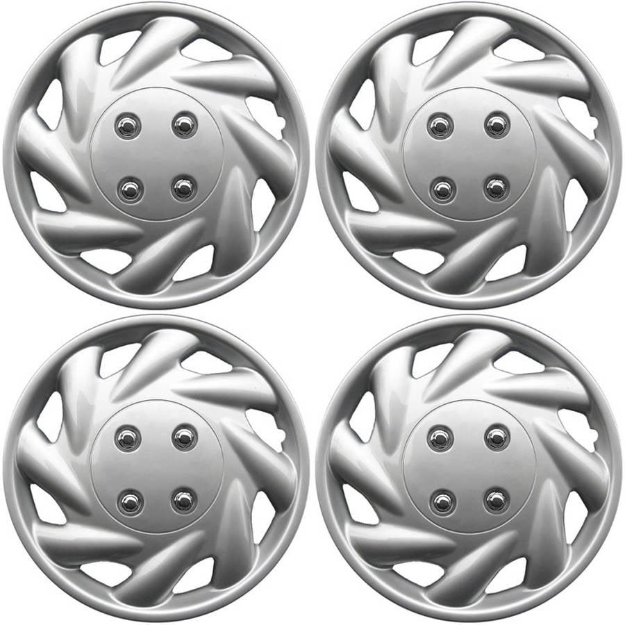 "4-Piece Set of 14"" Silver Hub Caps Full Lug Skin Rim Cover for OEM Steel Wheel"