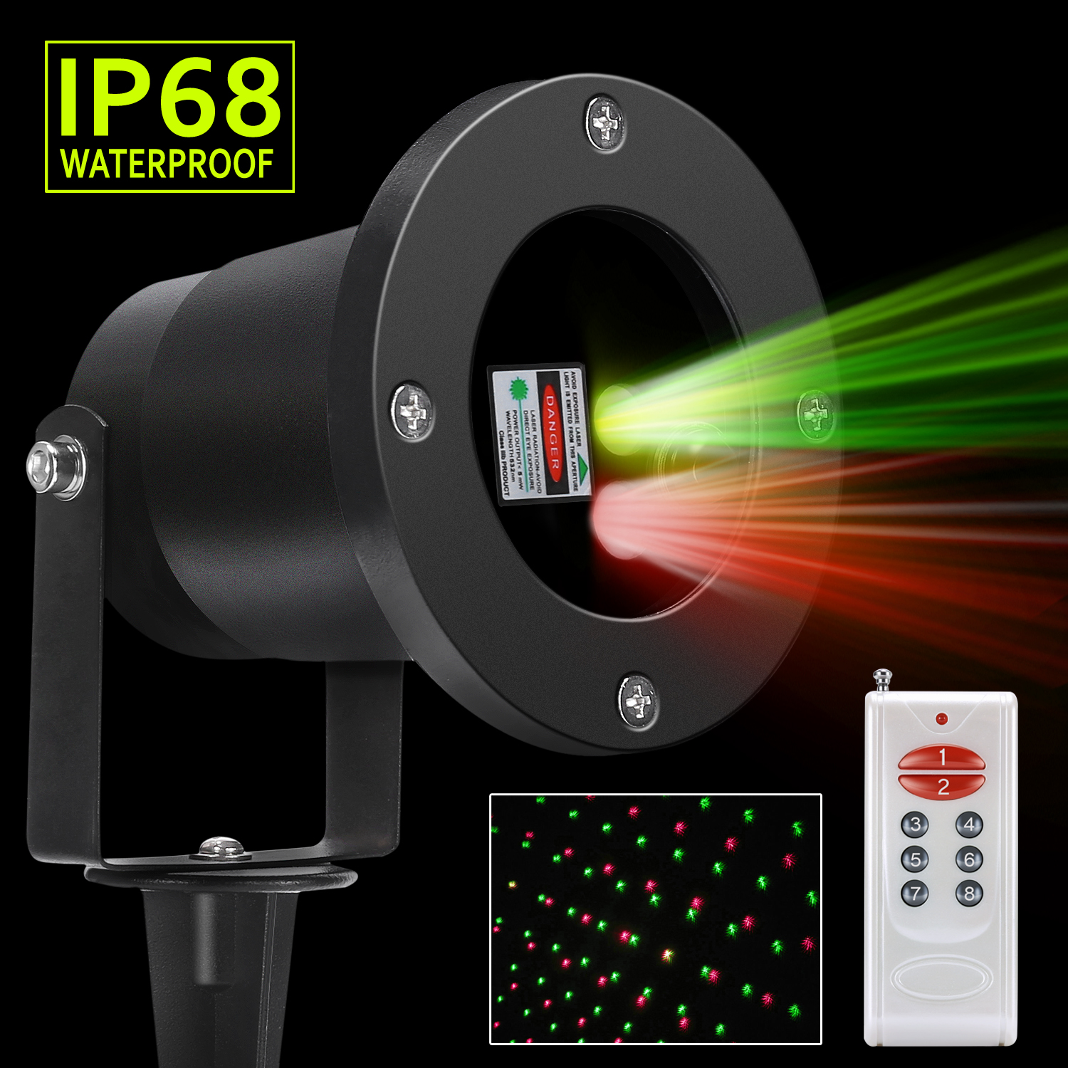 Magicfly Outdoor Christmas Laser Lights, Red And Green Landscape Star  Projector Decorative Lights, Party