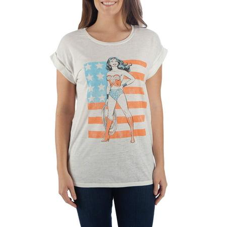 Juniors' Wonder Woman White Roll-Sleeve Graphic - Wonder Woman Tee Shirt