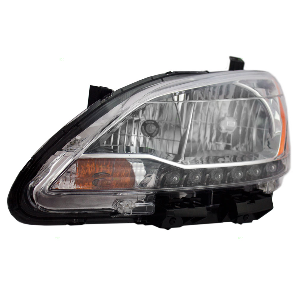 Drivers Halogen Combination Headlight Headlamp w/ LED Accents Replacement for 13-15 Nissan Sentra 26060-3SG2A
