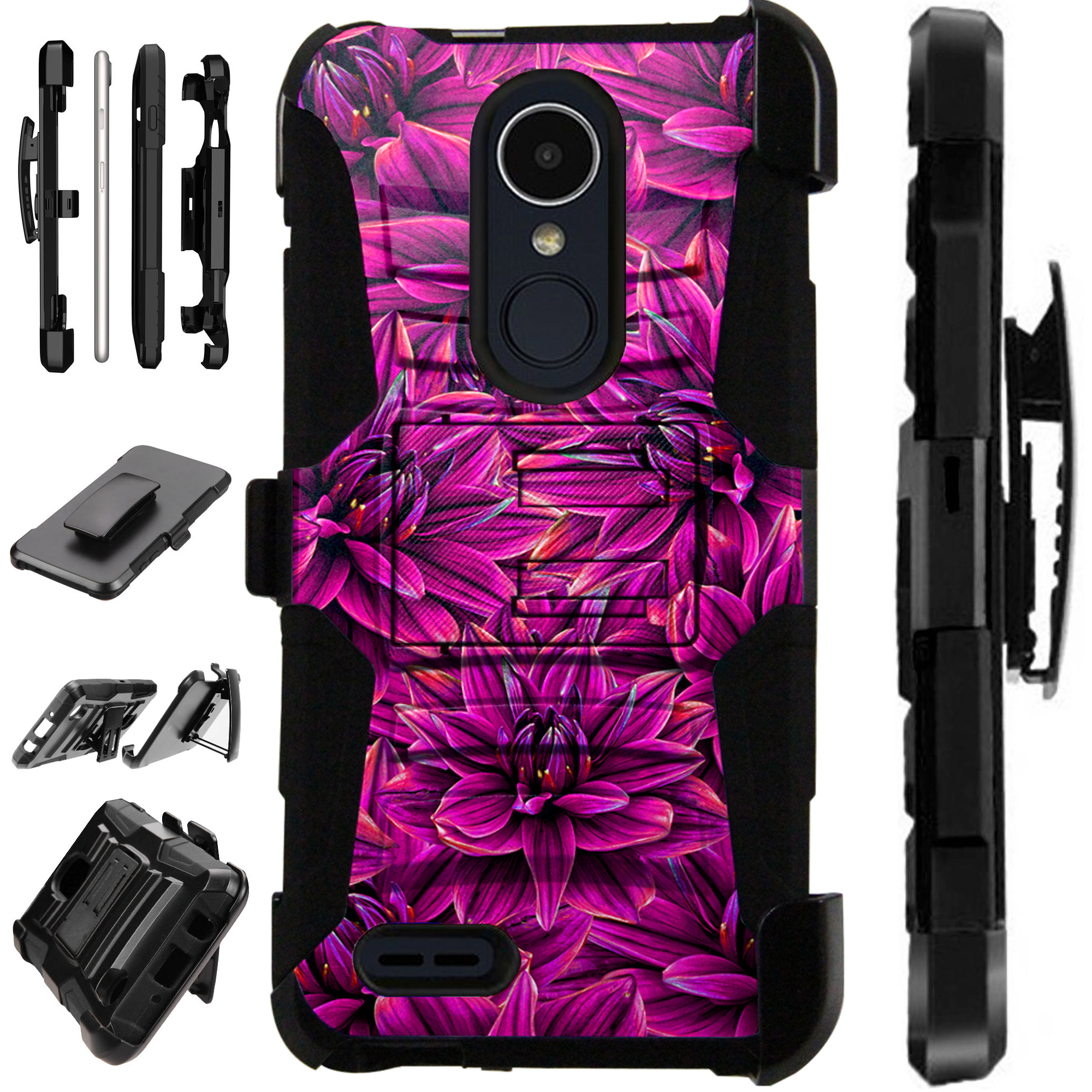 For LG Stylo 3 | LG Stylo 3 Plus Case Armor Hybrid Silicone Cover Stand LuxGuard Holster (Purple Blossom Flower)