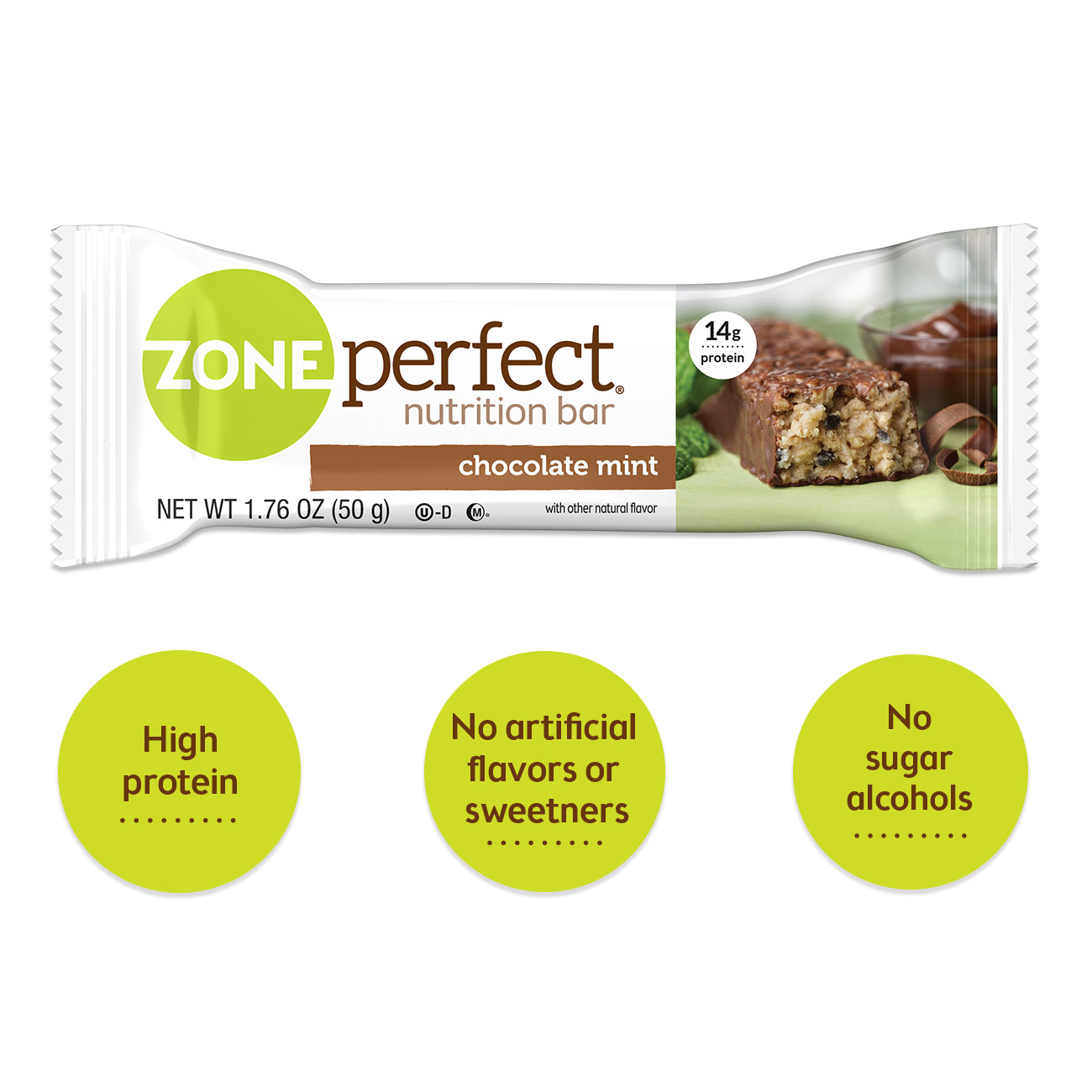 ZonePerfect Bar, 14 Grams of Protein, Chocolate Mint, 1.76 Oz, 10 Ct