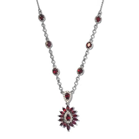 """Shop LC 925 Sterling Silver Pear Pyrope Garnet Zircon Station Necklace Platinum Plated Wedding Bridal Anniversary Engagement Jewelry For Her Size 18"""" Ct 2.5"""