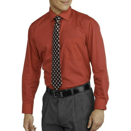 Men's Packaged Long Sleeve Dress Shirt and 2 Ties Set