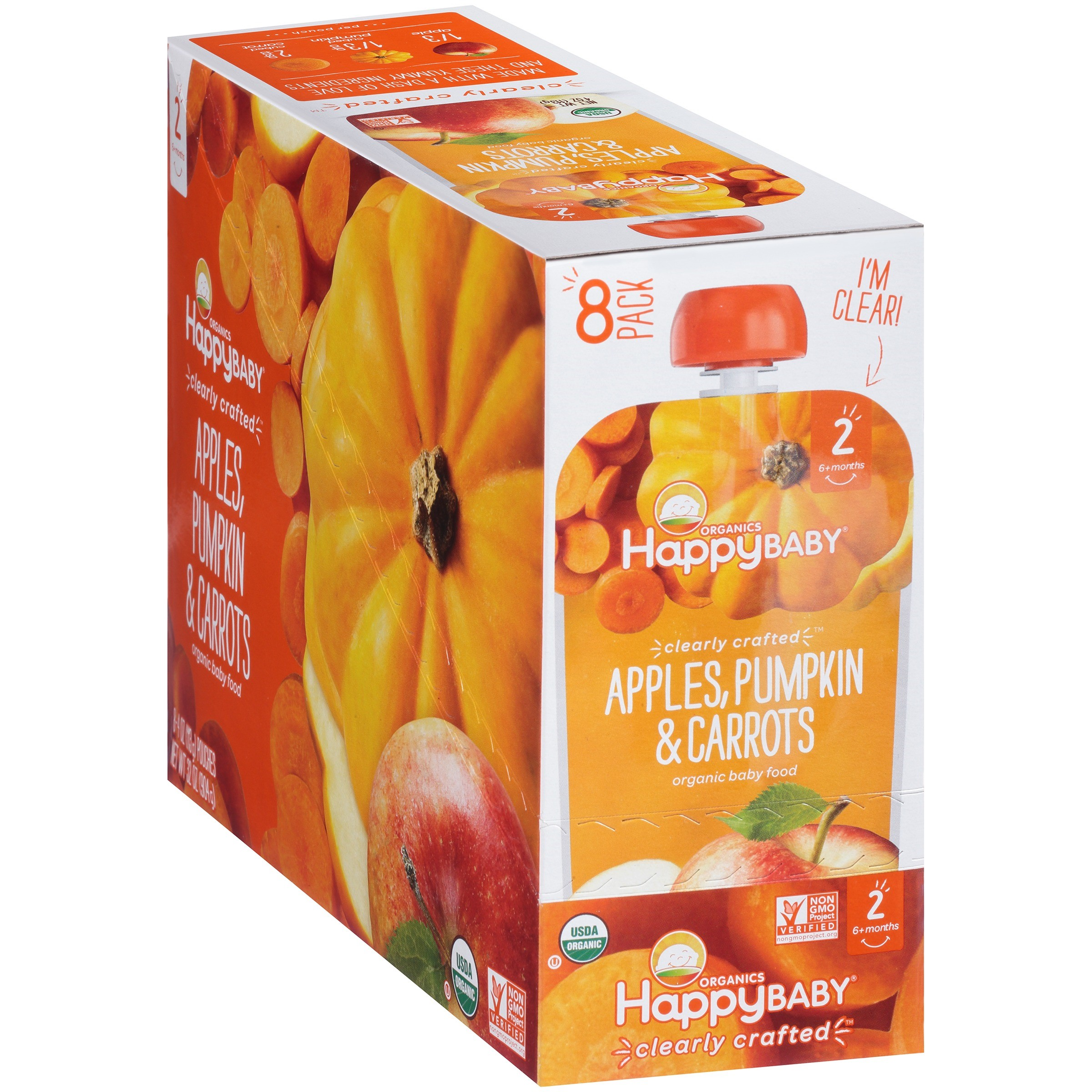 Happy Baby® Organics Apples, Pumpkin & Carrots Baby Food 4 oz. Pouch, 8 count