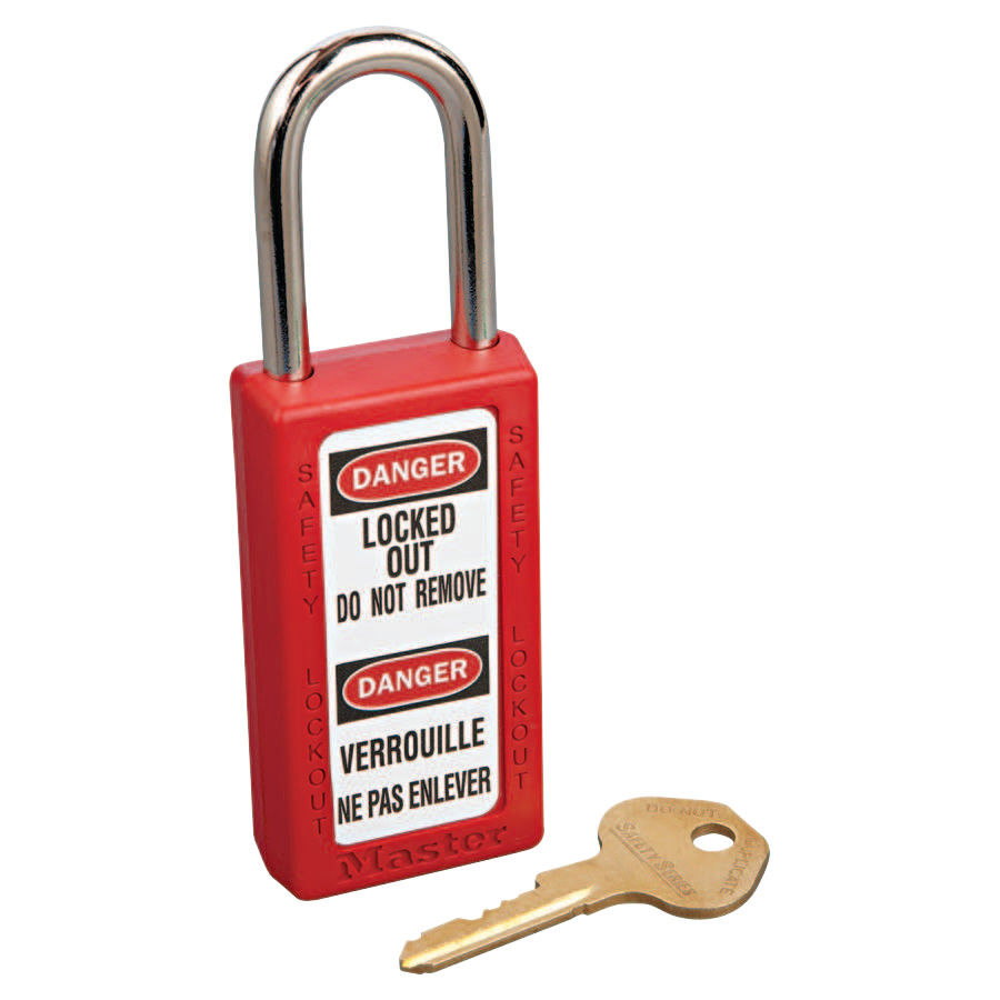 Master Lock No. 410 & 411 Lightweight Xenoy Safety Lockout Padlocks, Red, Keyed Diff.