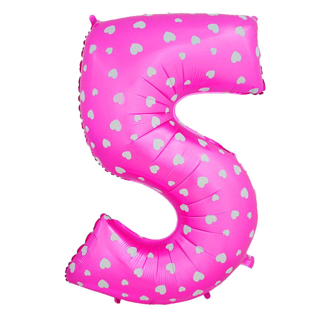 "Unique Bargains 16"" Fuchsia Foil Number 5 Shape Balloon Helium Birthday Wedding Decor"