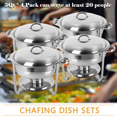 Zimtown Round Chafing Dish 5 Quart Stainless Steel Tray Buffet Catering, Dinner Serving Buffer Warmer Set, Pack of 1/2/4