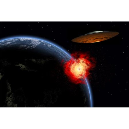 StockTrek Images PSTMAS100782S An Orbiting Ufo Launches A Deadly Attack Upon The Surface of Earth Poster Print, 17 x 11 - image 1 of 1