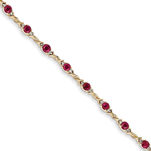 14k Yellow Gold Diamond and Ruby Bracelet. Carat Wt- 0.1ct. Gem Wt- 3.5ct by Jewelrypot