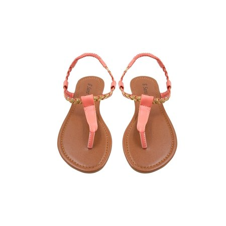 Exotic Ankle Strap - Sara Z Womens T Strap Size Thong Sandal Glitter Braid Ankle Strap Size 7/8 Coral/Gold
