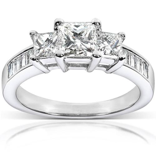 Annello  by Kobelli 14k Gold 1 1/2ct TDW Princess Diamond Engagement Ring