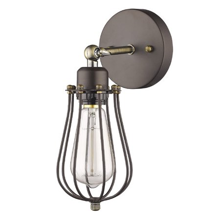 "CHLOE Lighting CHARLES Industrial-style 1 Light Rubbed Bronze Wall Sconce 5"" Wide"