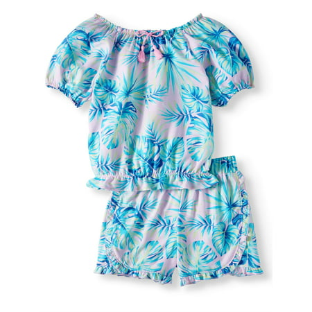 Wholesale Girls Fashion - Fashion Ruffle Hem Top and Short, 2-Piece Outfit Set (Little Girls, Big Girls & Big Girls Plus)