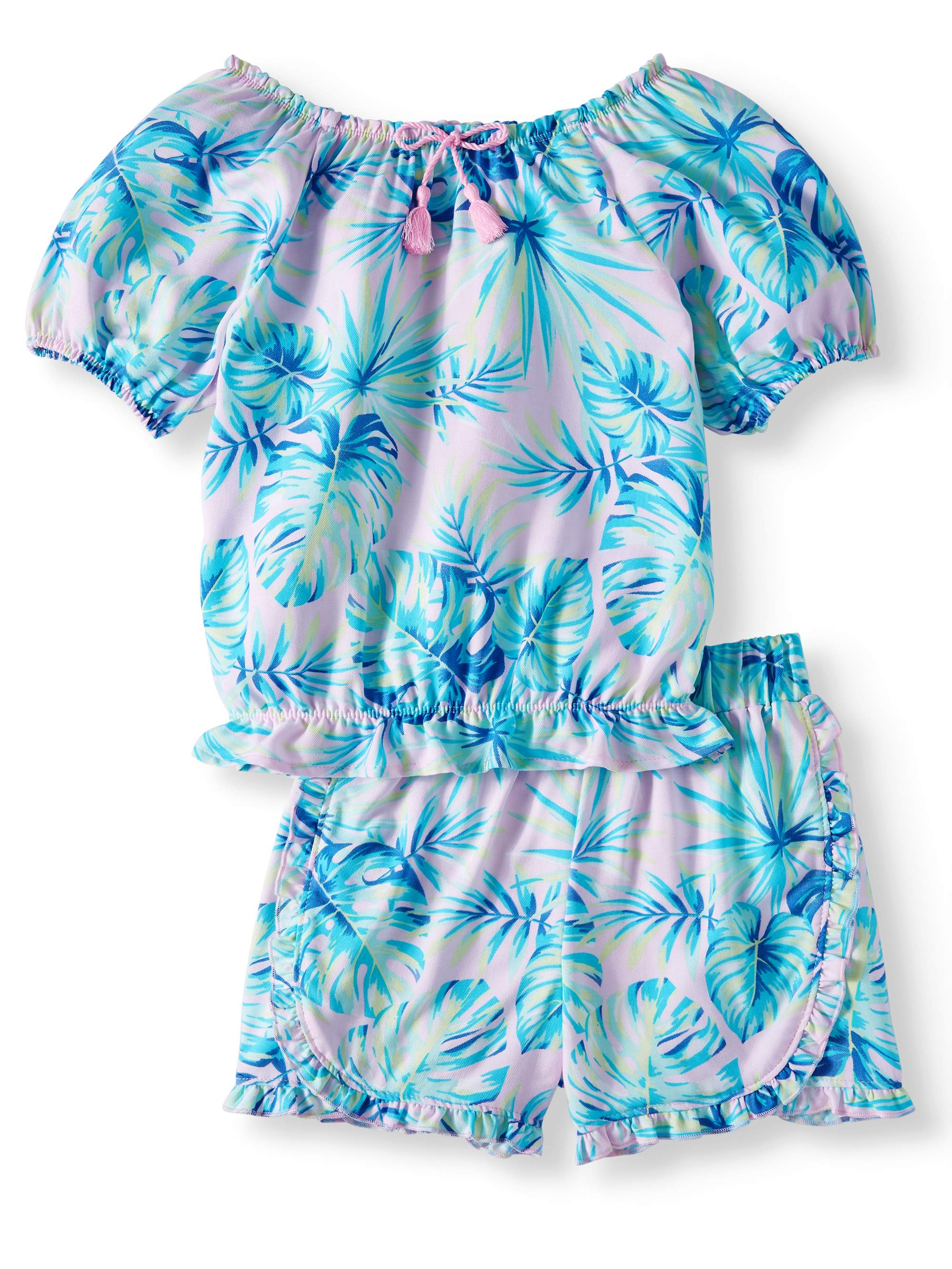 Printed Top with Cinched Neckline and Hem; And Matching Ruffled Shorts, 2-Piece Outfit Set (Little Girls, Big Girls & Big Girls Plus)