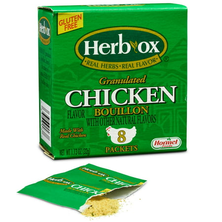 (4 Pack) Herb-Ox Instant Broth & Seasoning Granulated Chicken Bouillon Packets, 1.1 Ounce Collection 8 Ounce Bouillon