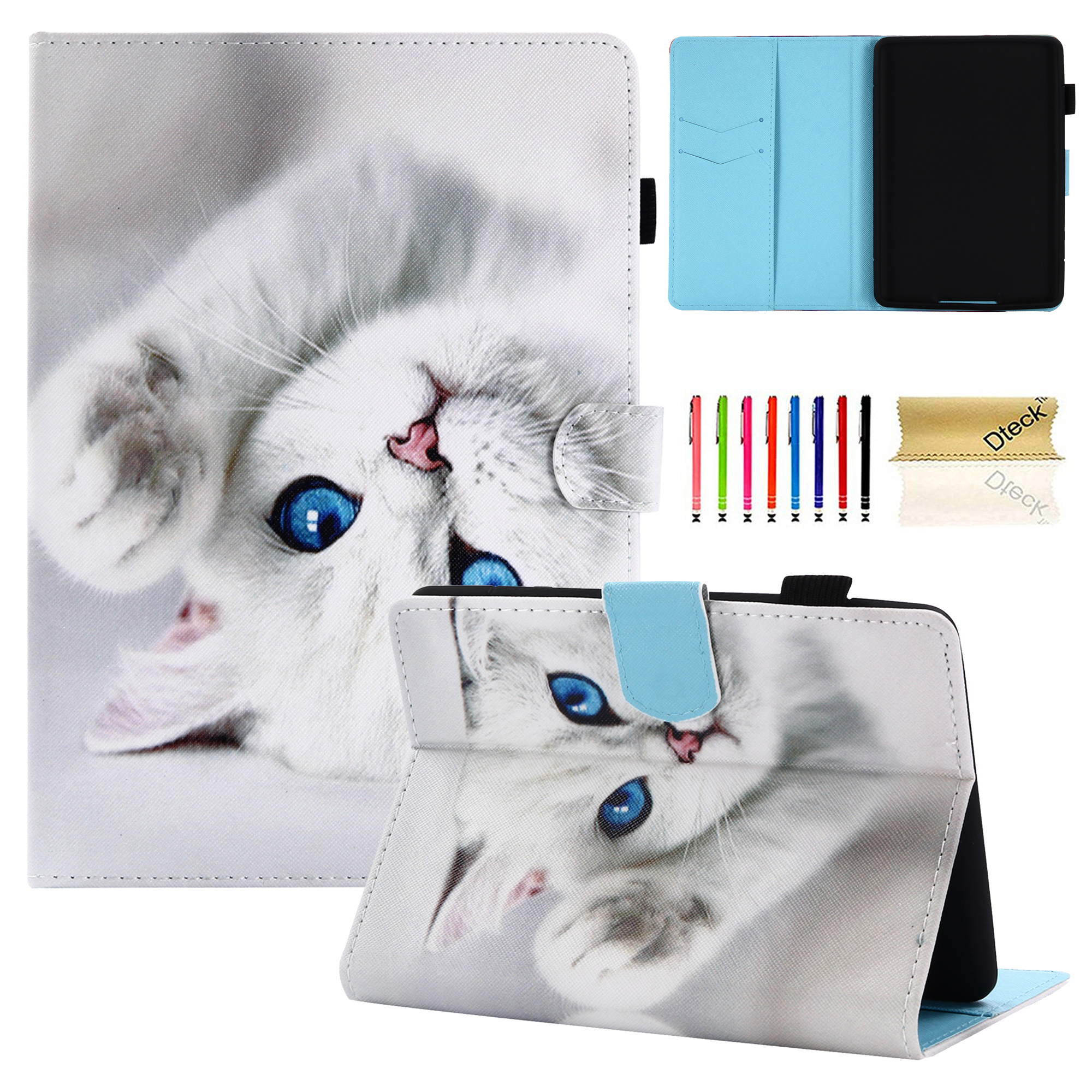 Kindle Paperwhite Kids Case, Goodest Folio Stand Case Cover with Auto Wake/ Sleep for Amazon Kindle Paperwhite 3 2 1 (Fits all 2012 2013 2014 2015 and 2016 Versions, 6 inch Display), White Cat