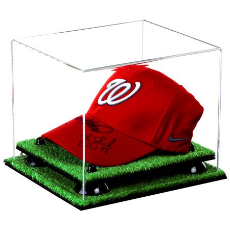 Deluxe Clear Acrylic Baseball Cap Display Case Black Risers Turf Base (A006-BR) Acrylic Cap Display Case