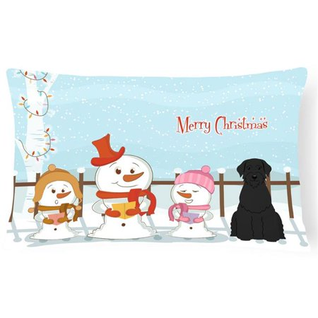 Carolines Treasures BB2397PW1216 Merry Christmas Carolers Giant Schnauzer Canvas Fabric Decorative Pillow - image 1 de 1