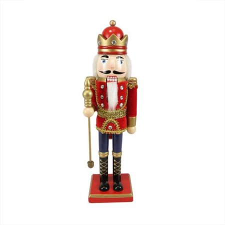 """14"""" Decorative Wooden Red Blue and Gold Christmas Nutcracker King with Scepter"""