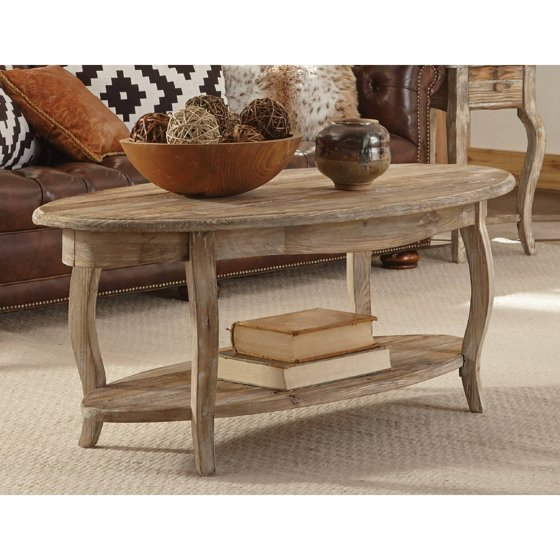 Rustic Reclaimed Oval Coffee Table, Driftwood