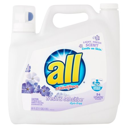 All With Stainlifters Fresh   Sensitive Dye Free Liquid Laundry Detergent  141 Fl Oz