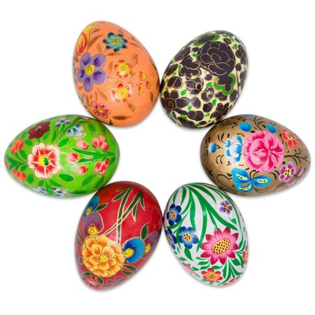 Set of 6 Garden Flowers Bouquet Ukrainian Wooden Easter (Egg Flowers)