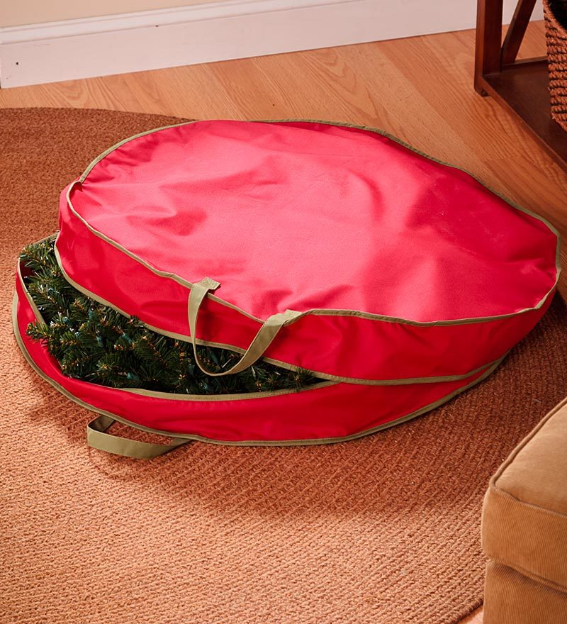 Heavy-Duty Polyester Holiday Wreath Storage Bag with Handles,